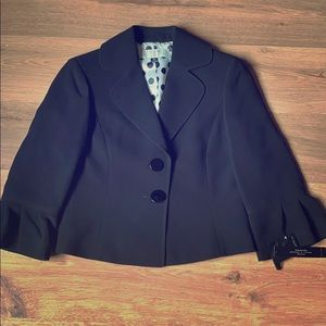 Petite Tahari Black Cropped Blazer Jacket  0P/XS
